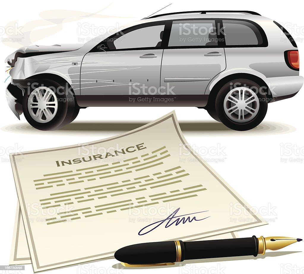 Damaged vehicle with insurance papers and pen royalty-free stock vector art