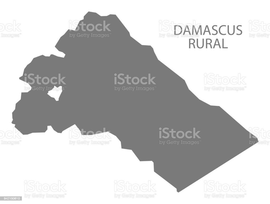 Damascus Rural Map Of Syria Grey Illustration Shape Stock Vector Art