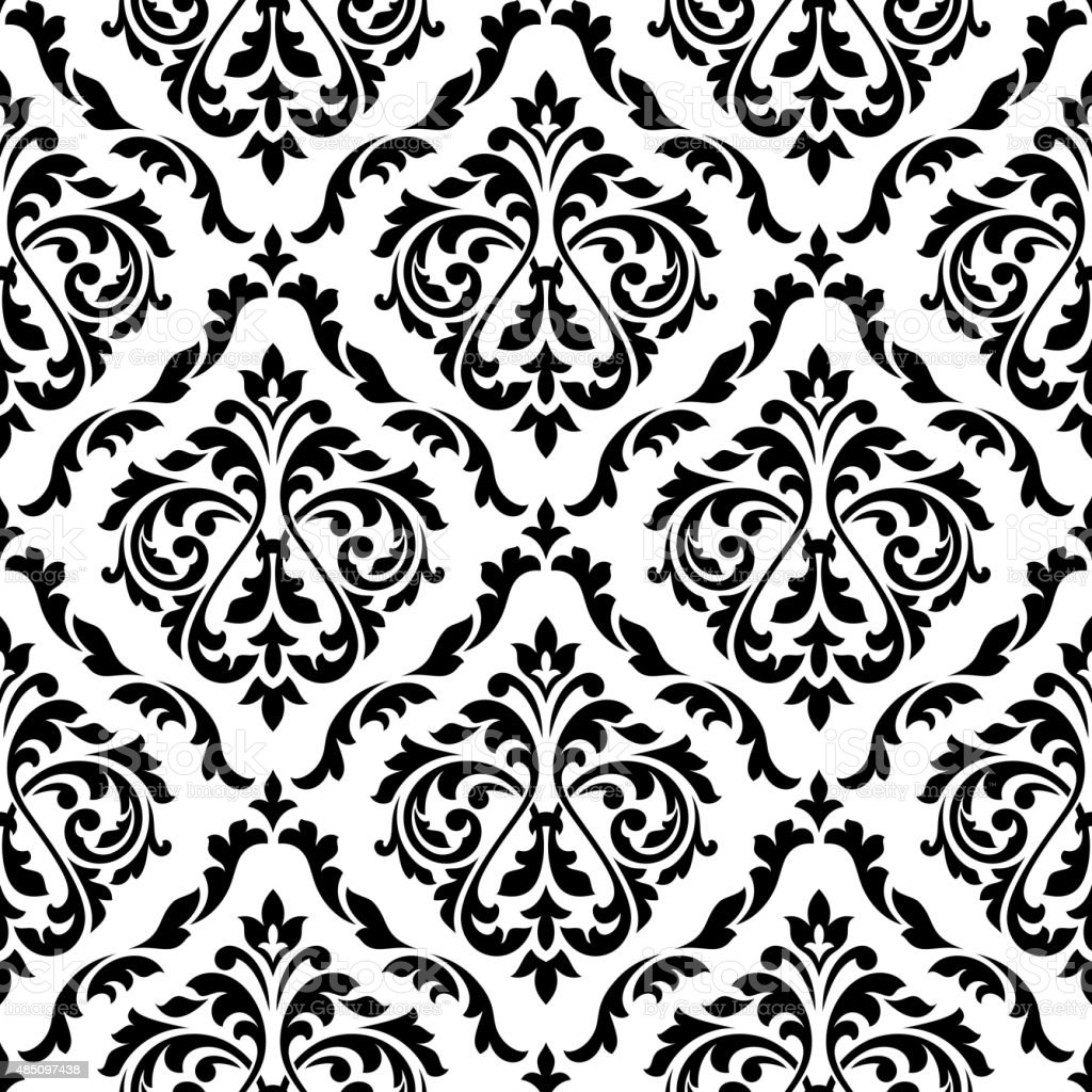 damask black and white floral seamless pattern stock