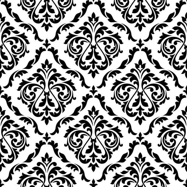damask black and white floral seamless pattern - 錦緞 幅插畫檔、美工圖案、卡通及圖標