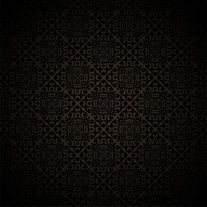 Damask black seamless background. Filigree oriental luxury ornament. Decorative monochrome pattern in mosaic ethnic style.