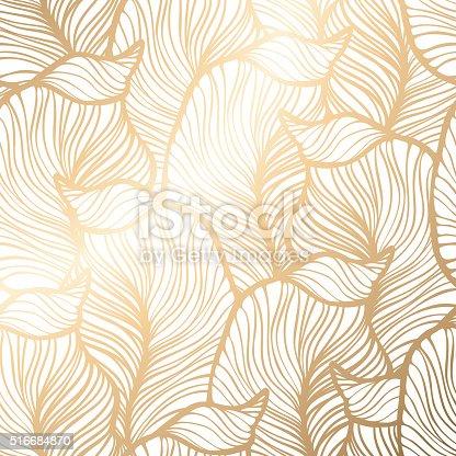 Damask floral pattern. Royal wallpaper. Vector illustration. EPS 10. Gold leaf background