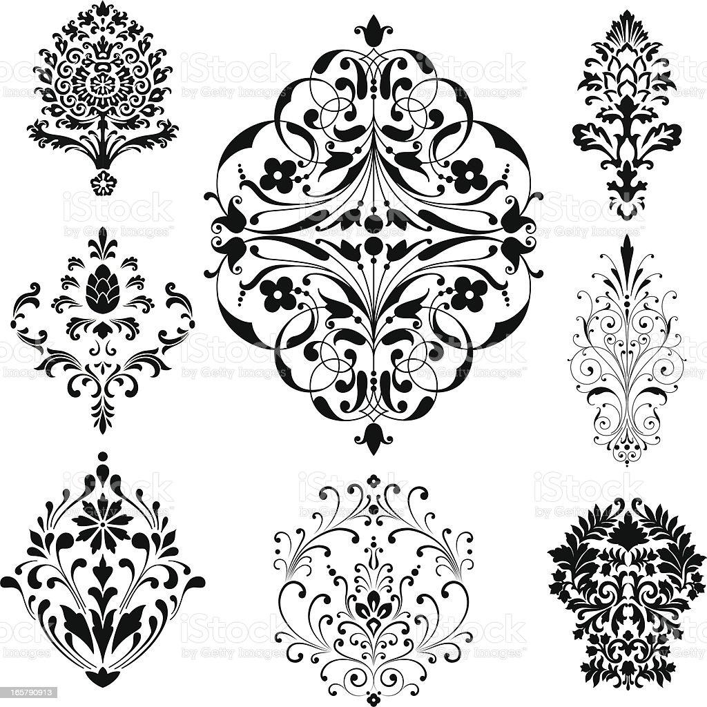 Damask Ornaments vector art illustration