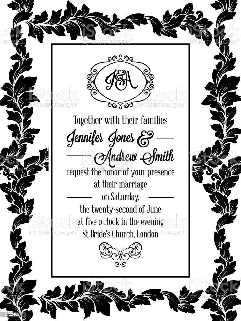 Damask pattern design for wedding invitation in black and white damask pattern design for wedding invitation in black and white pattern is included as seamless stopboris Choice Image