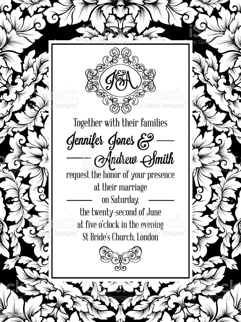 Damask Pattern Design For Wedding Invitation In Black And White ...