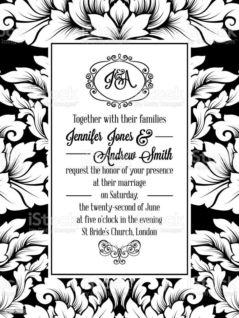 modélisme damassés pour invitation de mariage en noir et blanc cadre