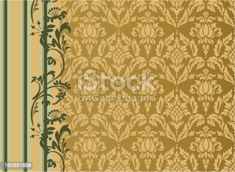 Damask pattern with ananas. The main pattern can be used as seamless if separeted form the rest of the graphic. High-res jpeg included.