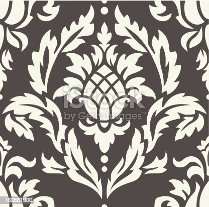 Damask seamless pattern with ananas. High-res jpeg included.