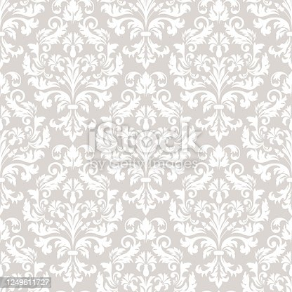 istock Damask seamless pattern element. Vector classical luxury old fashioned damask ornament, royal victorian seamless texture for wallpapers, textile, wrapping. Vintage exquisite floral baroque template. 1249611727