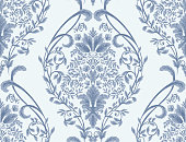 istock Damask seamless pattern element. Vector classical luxury old fashioned damask ornament, royal victorian seamless texture for wallpapers, textile, wrapping. Vintage exquisite floral baroque template. 1268682801