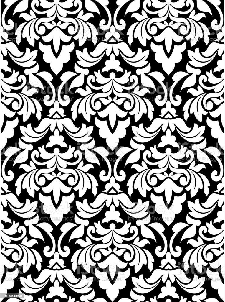 Damask seamless pattern vector art illustration