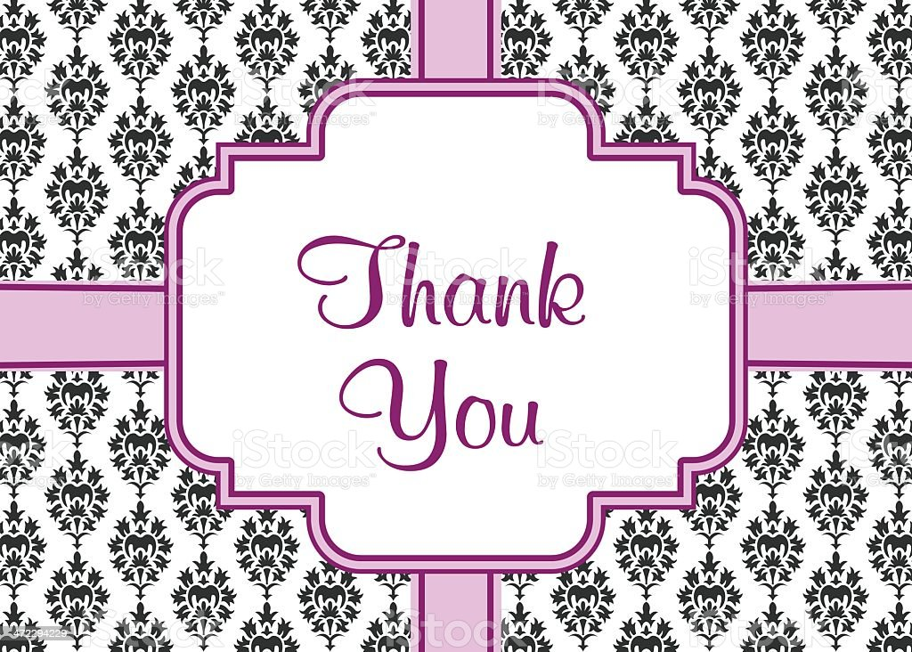 Damask Thank You Card royalty-free stock vector art
