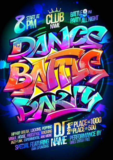 illustrations, cliparts, dessins animés et icônes de affiche de dance battle party - hip hop