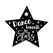 Dance beneath the stars- positive saying, handwritten text, with star frame. Good for greeting card and  t-shirt print, flyer, poster design, mug.