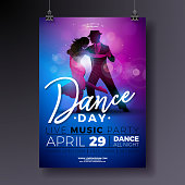 Dance Day Party Flyer design with couple dancing tango on shiny colorful background. Vector celebration poster illustration template for Ballroom Night