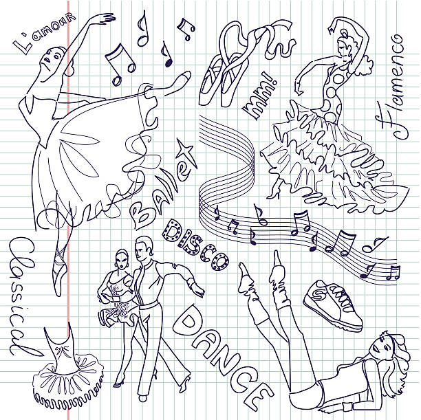 Dance Doodles vector art illustration