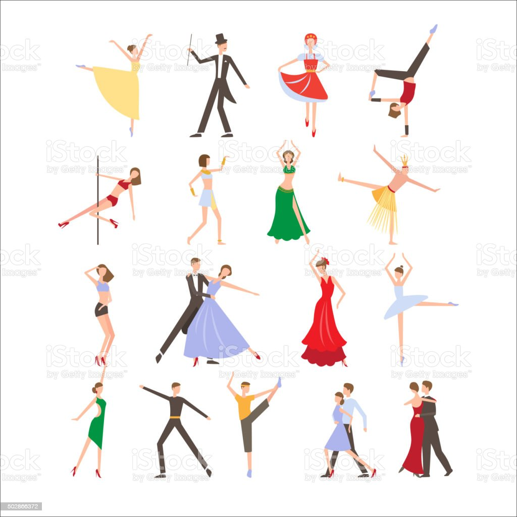 Dance festival, different dance styles, flat icon set isolated vector vector art illustration
