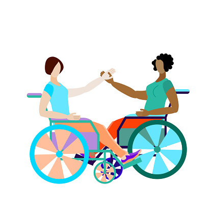 Dance in wheelchairs. A girl and an African-American girl sit in wheelchairs and hold hands. Disabled friends hold hands. Vector illustration in flat style isolated on a white background.