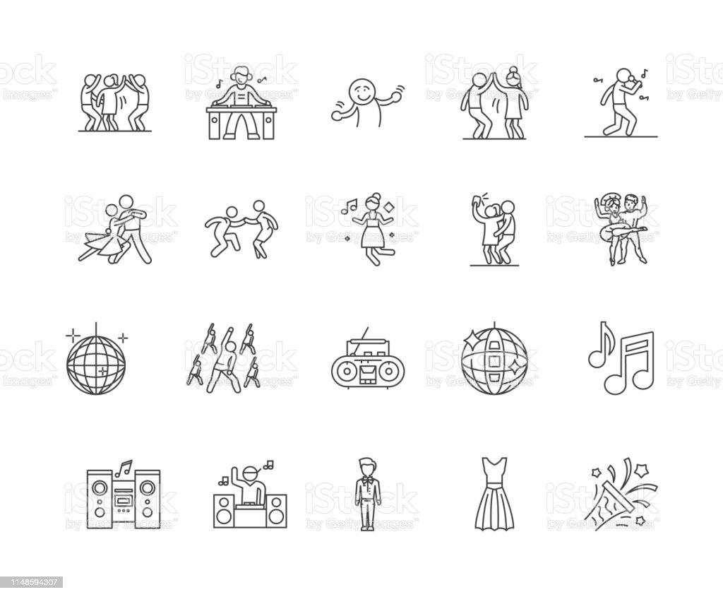 Dance line icons, linear signs, vector set, outline concept...