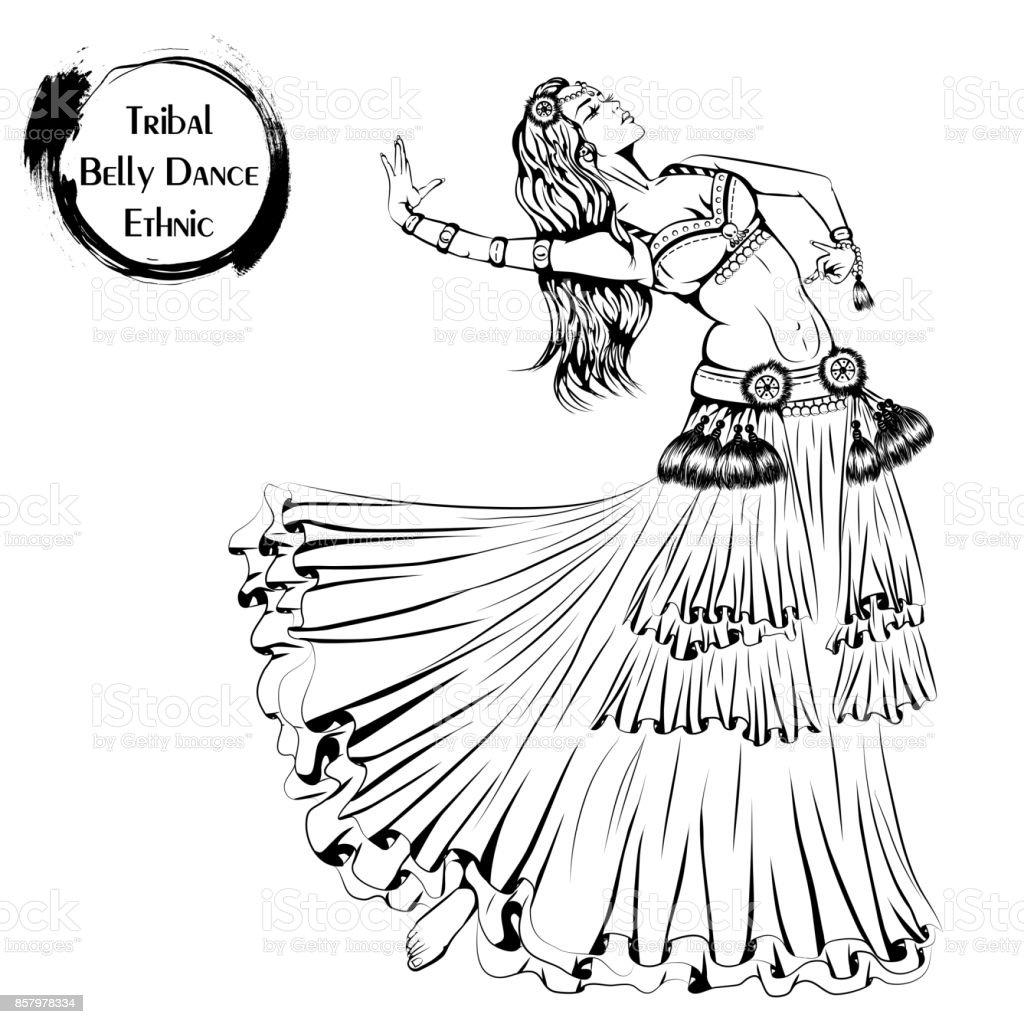 Dance line tribal belly dance vector art illustration