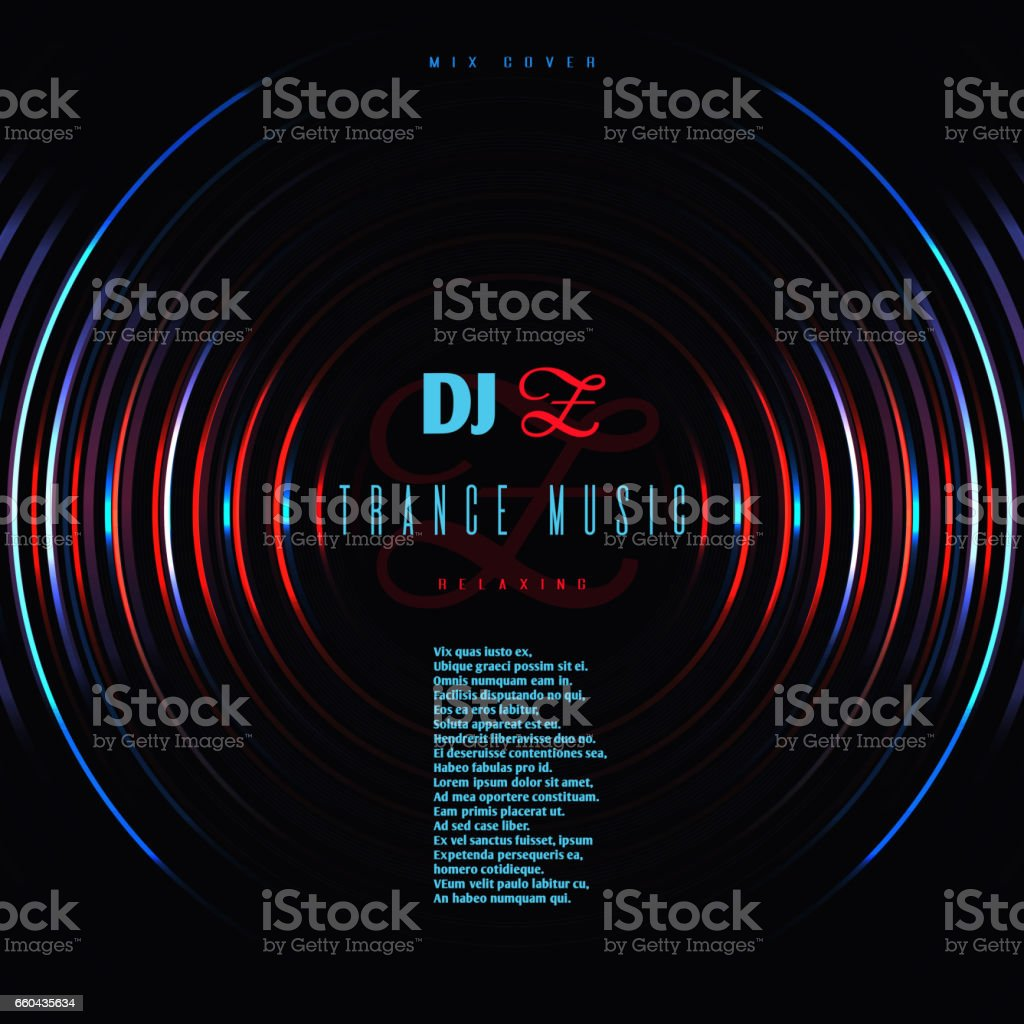 Dance music club party vector poster with dj mixing vinyl disc vector art illustration