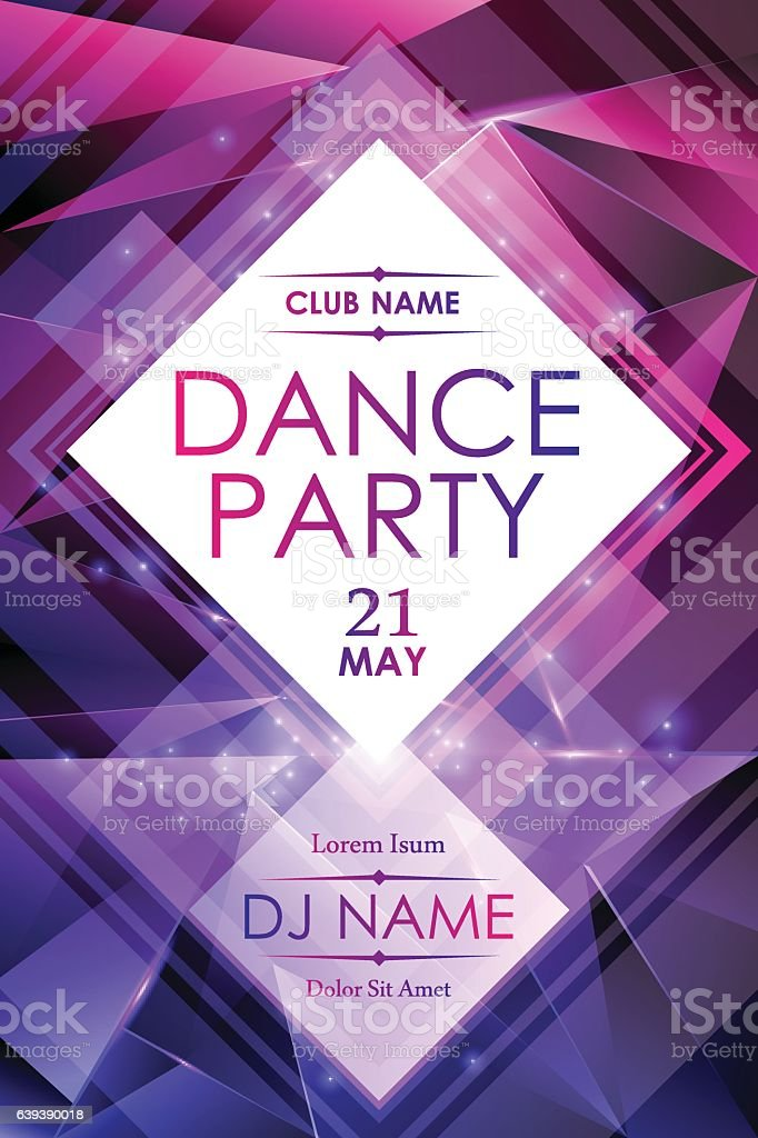 Dance night party poster template vector art illustration
