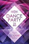 Dance night party poster template