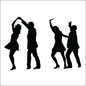 A vector silhouette illustration of two couples dancing.  The yougn woman wears a skirt and a ha whilet he man wears a suit jacket.  The first couple holds hands above her head.  The second couple raises hands in the air.