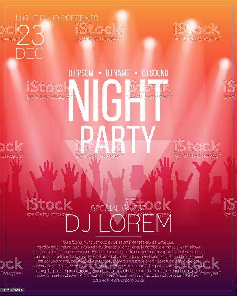 Dance party flyer or poster design template. Night party, dj concert, disco party background with spotlights vector art illustration