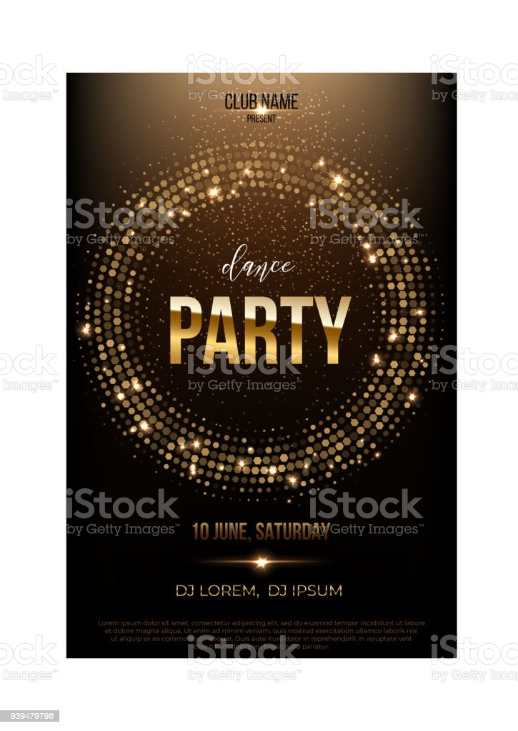 dance party flyer template golden words spot lights and glitter on