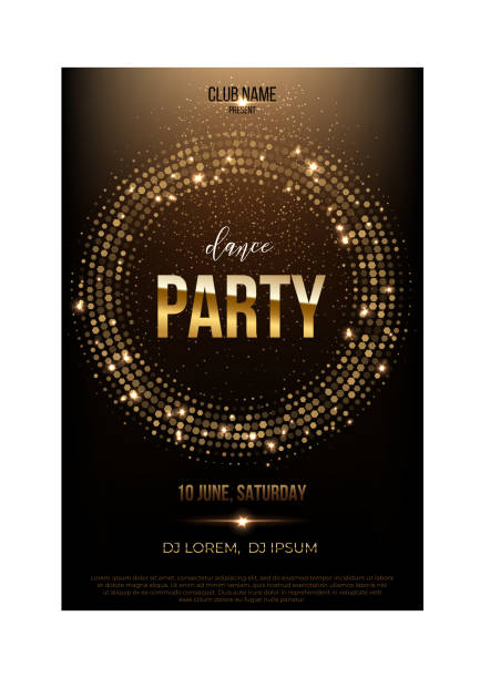dance party flyer template. golden words, spot lights and glitter on dark brown background. - dyskoteka stock illustrations