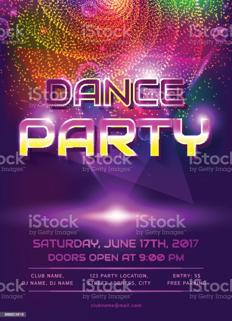 dance party invitation stock vector art more images of 1980 1989