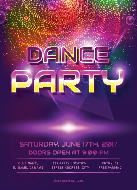 Dance party invitation. vector art illustration