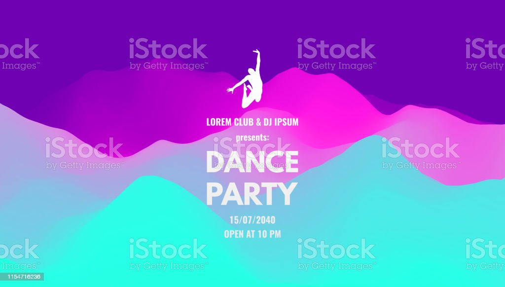 Dance Party Invitation With Date And Time Details Music Event Flyer Or Banner 3d Wavy Background With Dynamic Effect Vector Illustration Stock Illustration Download Image Now Istock