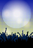 Dance Party Festive Crowd Night Poster Background Template. Vector Illustration