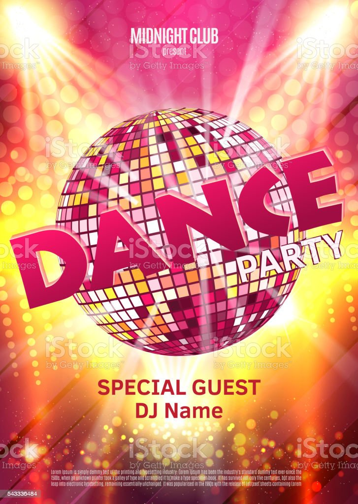 dance party poster background template vector illustration disco
