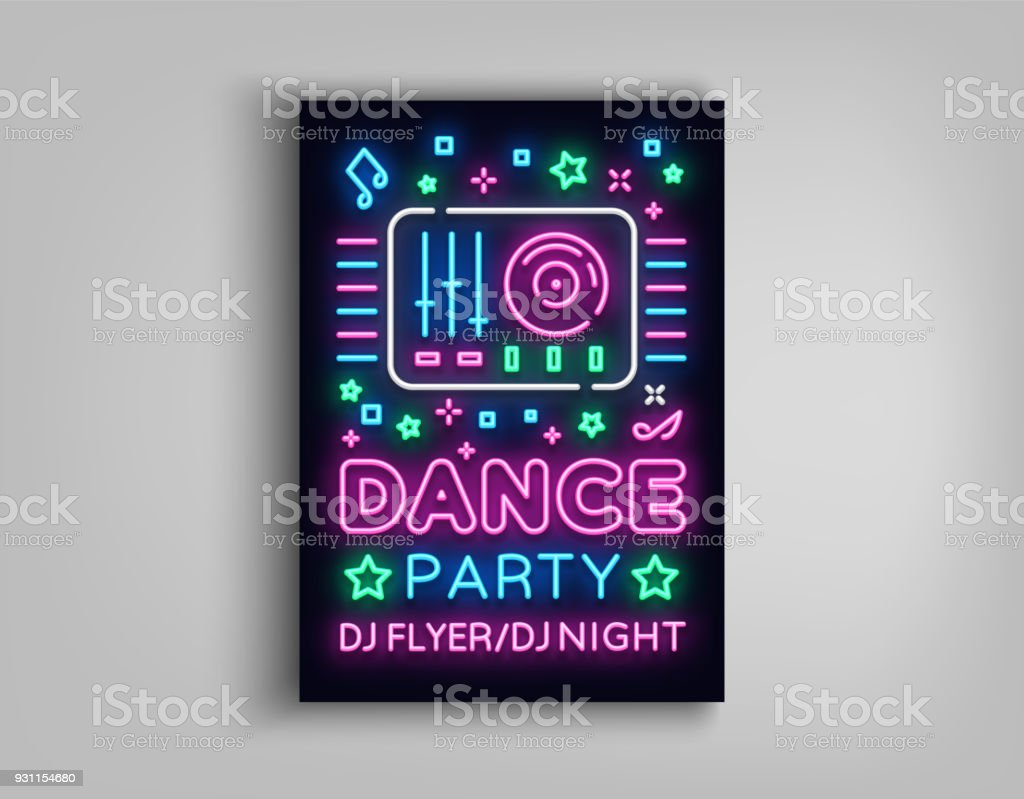 Dance Party Poster Design Template In Neon Style Night Party Dj Neon ...