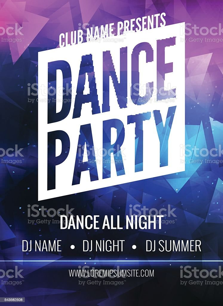 dance party poster template night flyer club design on dark stock