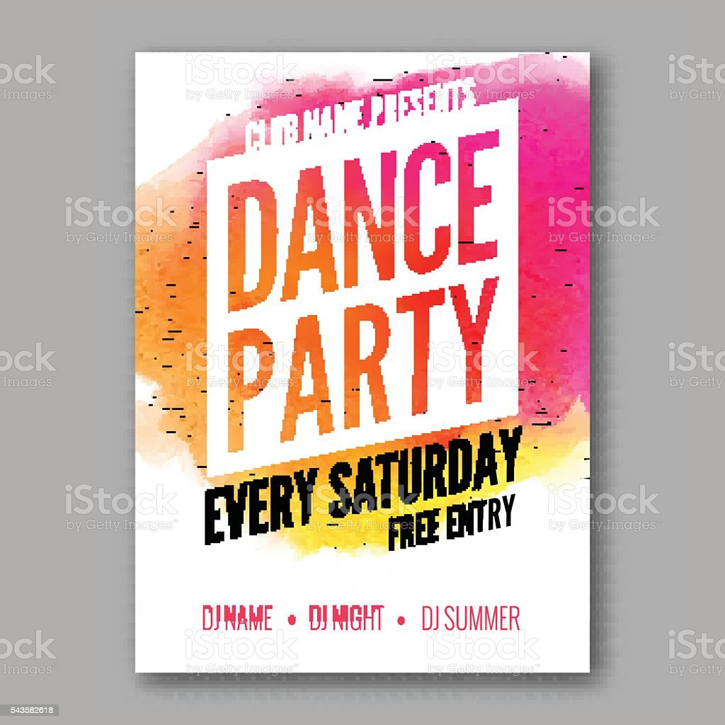 dance party poster template night flyer dj session club design stock
