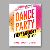 Dance Party Poster Template. Night   flyer. DJ session. Club  design