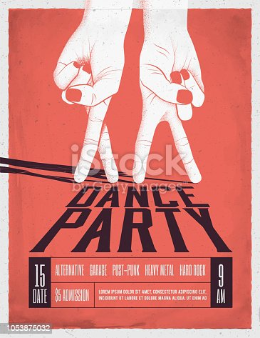 istock Dance Party Poster with two dancing hands. Vintage styled vector illustration. 1053875032
