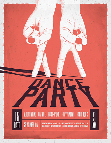 Dance Party Poster with two dancing hands. Vintage styled vector illustration.