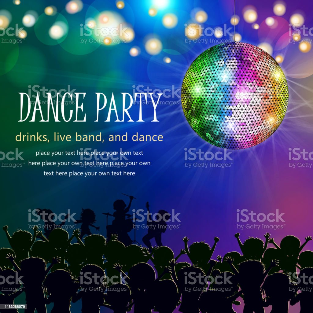 Dance party poster including live band, dancing people and disco ball.