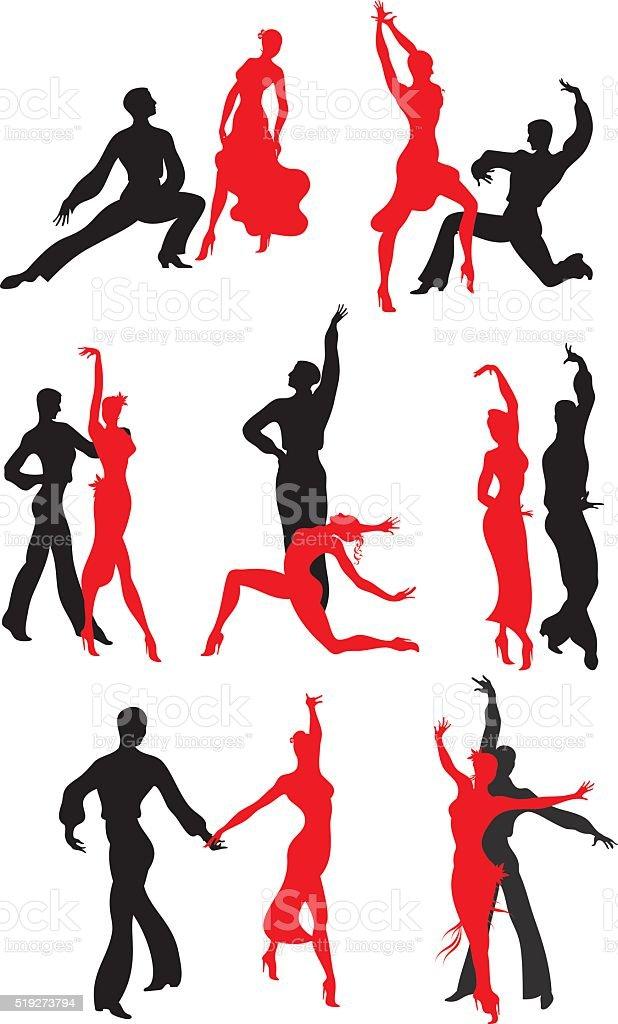 dance Paso Doble set vector art illustration