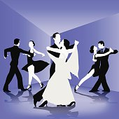 Ballroom dance silhouettes isolated on background. Vector illustration