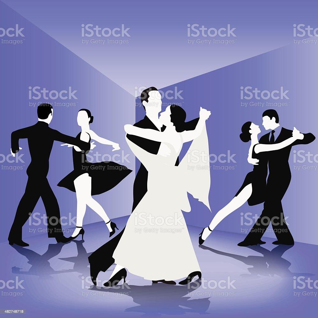 Dance school vector art illustration