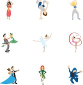 Dance styles icons set. Cartoon illustration of 9 dance styles vector icons for web