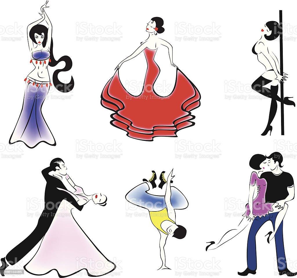 Dance styles vector art illustration