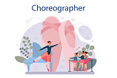Dance teacher or choreographer in dance studio. Dancing courses for children and adults. Classical ballet. Vector Illustration