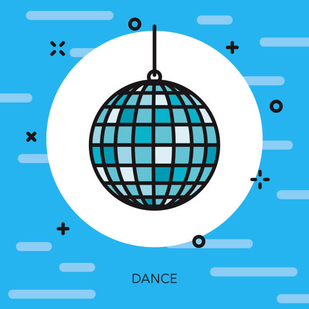 Dance Thin Line Arts Icon A flat design/thin line icon on a colored background. Color swatches are global so it's easy to edit and change the colors. File is built in CMYK for optimal printing and the background is on a separate layer. disco ball stock illustrations